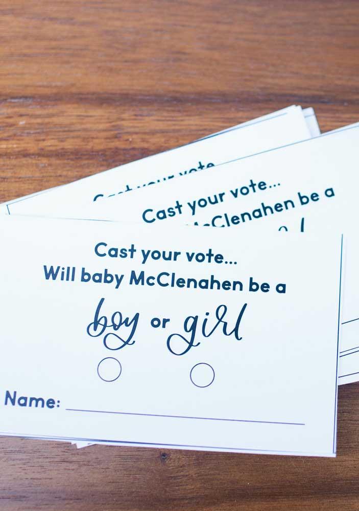Cédulas de votação para o chá revelação