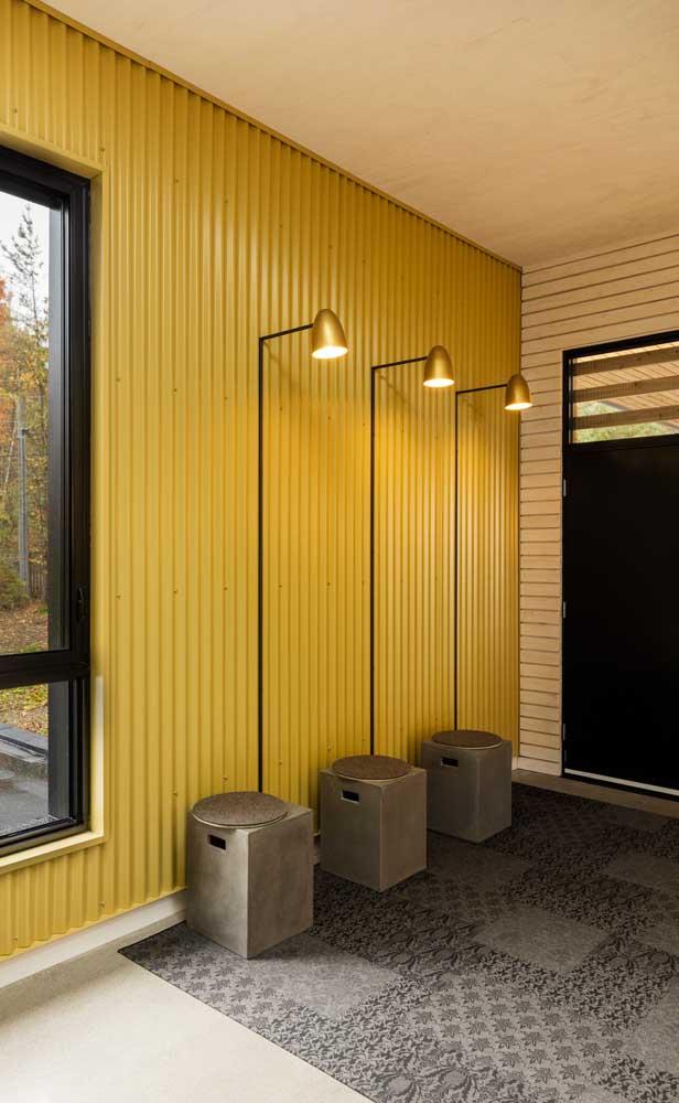 Bancos de concreto com luminária para o hall de entrada; coloque essa ideia na sua lista de DIYs