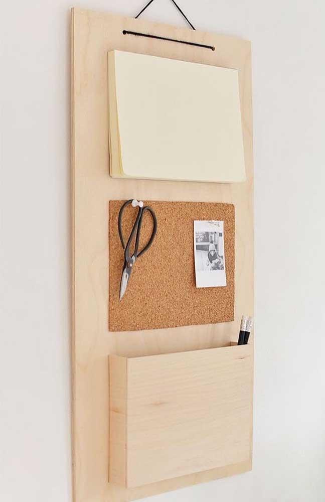 Essa ideia é para o home office: porta recado e porta trecos criativo