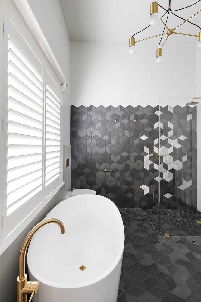 Composição criativa, neutra e original para os revestimentos do banheiro