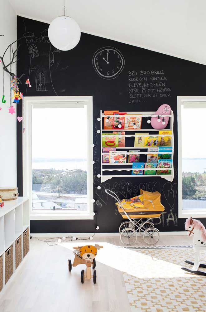 Deixe as crianças exercitarem a imaginação! Forre a parede com papel ou tinta lousa
