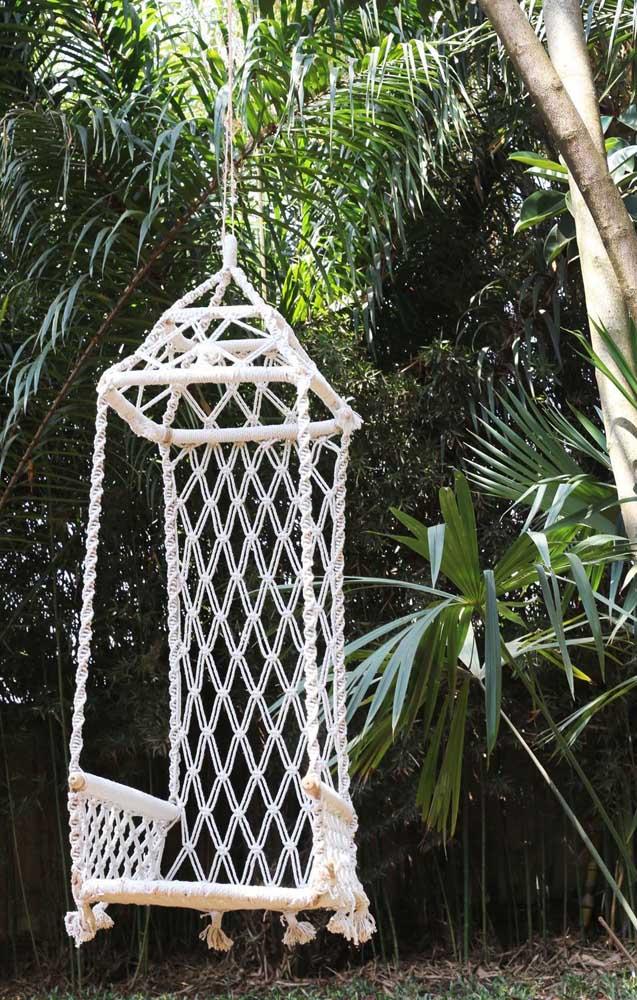 Balanço para jardim em macramê: uma peça que combina rusticidade com elegância