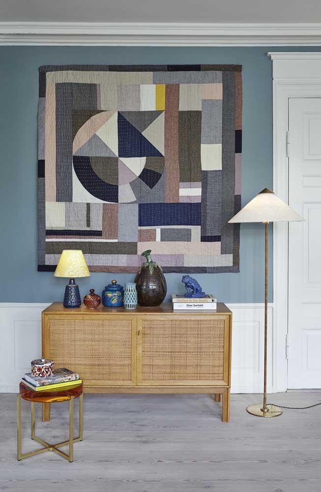 Lindo quadro de patchwork para decorar o hall de entrada da casa