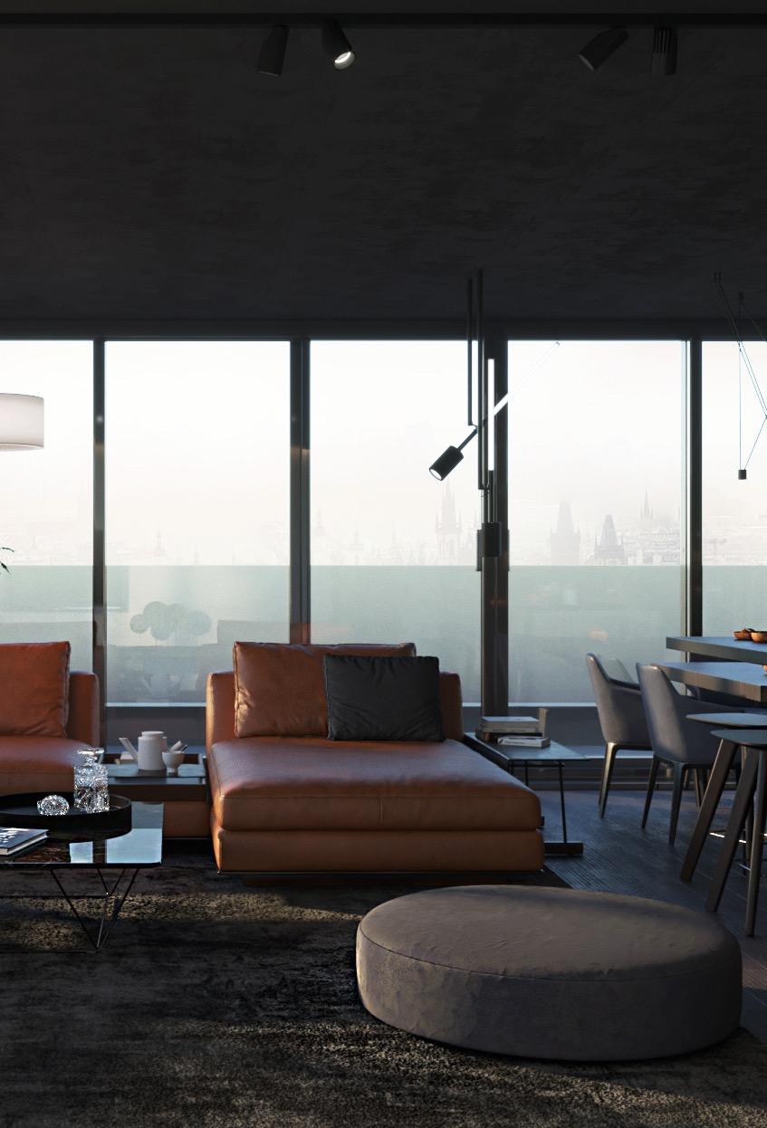 O puff redondo nesse modelo combina muito bem com o estilo desta sala de estar.