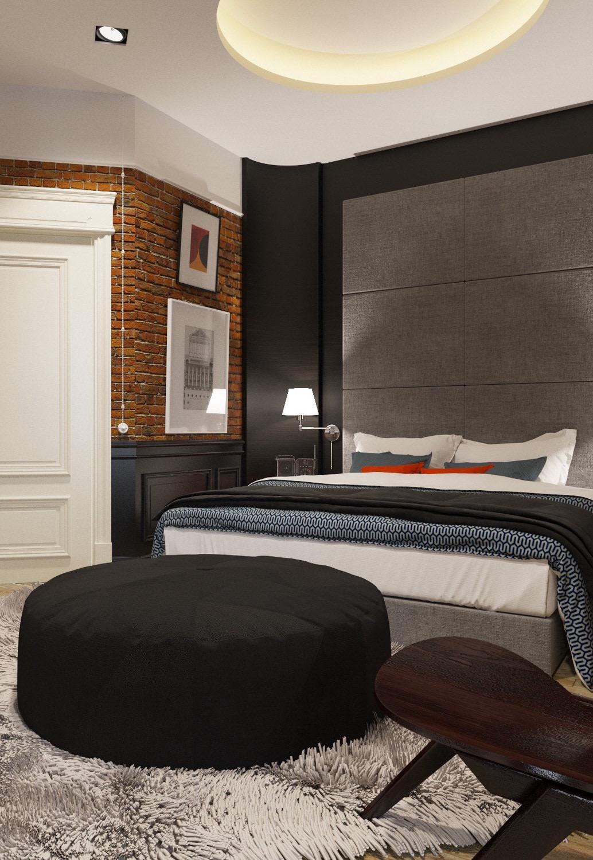 Para fazer parte da decoração mais moderna do quarto, nada melhor do que escolher um puff redondo preto.