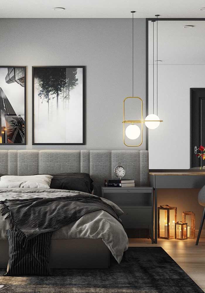 Que tal escolher a cor cinza para fazer a decoração do quarto?