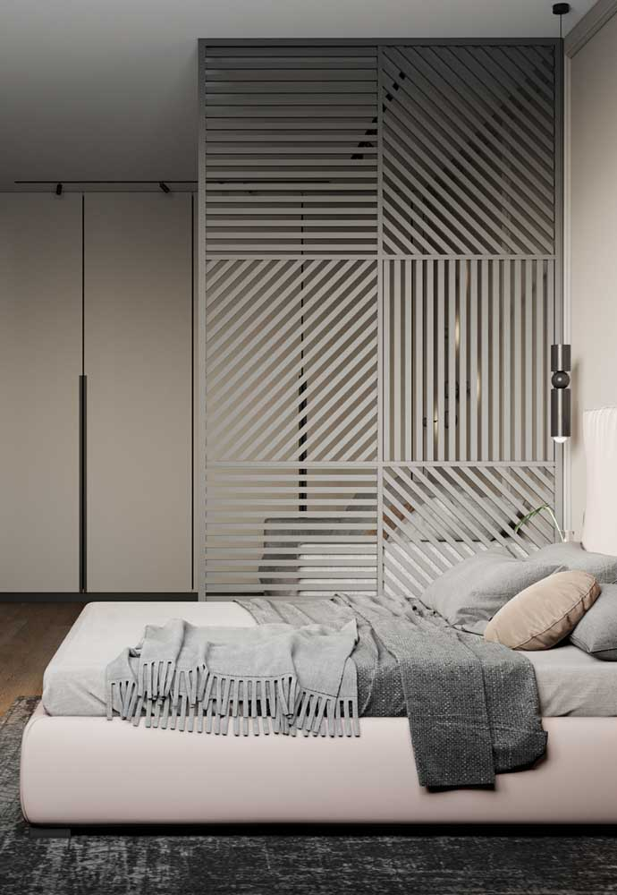O quarto cinza claro é perfeito para quem não gosta de ousar na decoração.