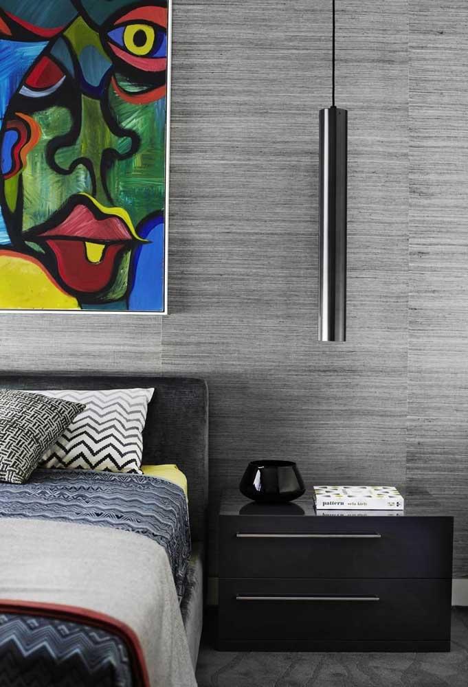 Ao invés de pintar a parede do quarto na cor cinza, aposte em papéis de parede diferenciados.