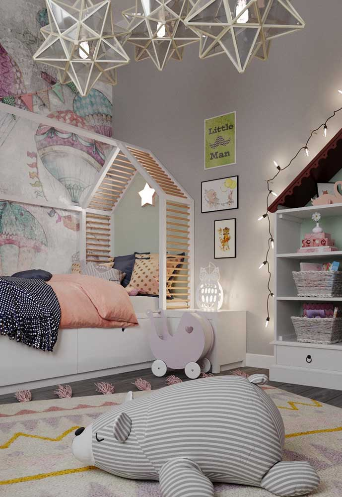 O que acha de preparar o quarto de bebê cinza e rosa?