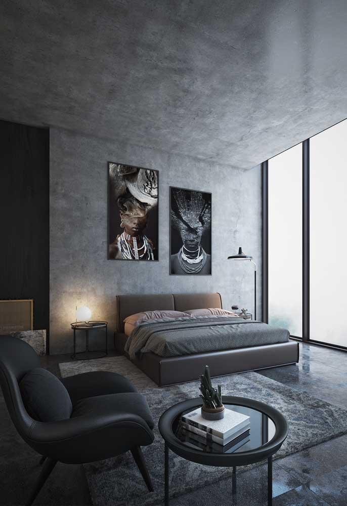 Ao invés de usar a tinta na cor cinza, use o cimento queimado para fazer a decoração do quarto.