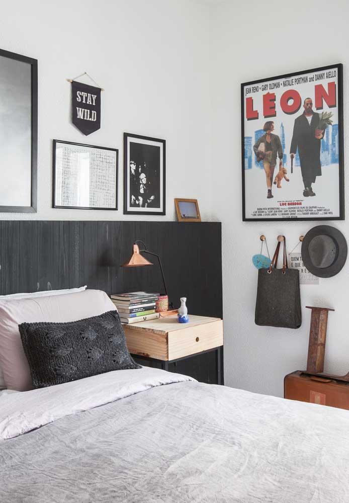 O que acha de fazer um quarto cinza e preto?