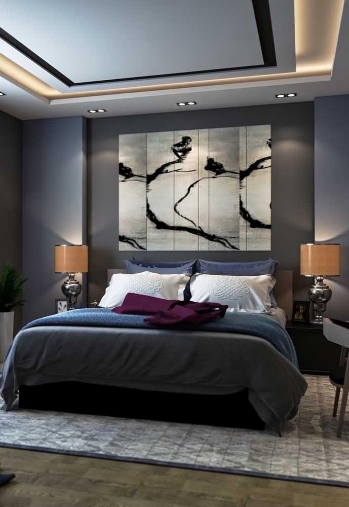Mais uma opção de decoração para o quarto cinza e azul.