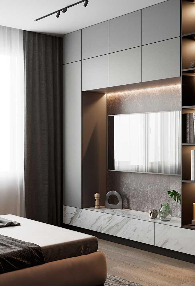 Olha como os móveis na cor cinza deixam o ambiente mais elegante.