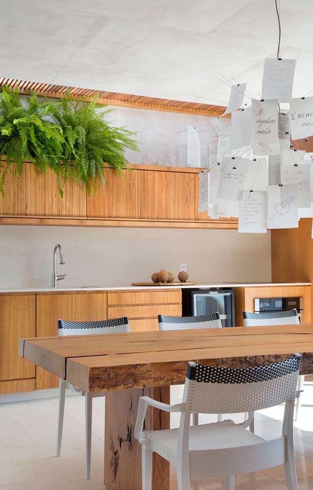 Que linda cozinha! Os armários de madeira receberam com muito carinho esse conjunto de samambaias