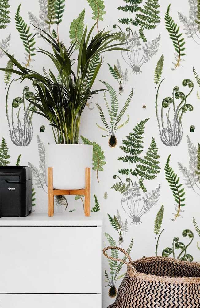 Olha outra linda inspiração de ambiente decorado com papel de parede de samambaia