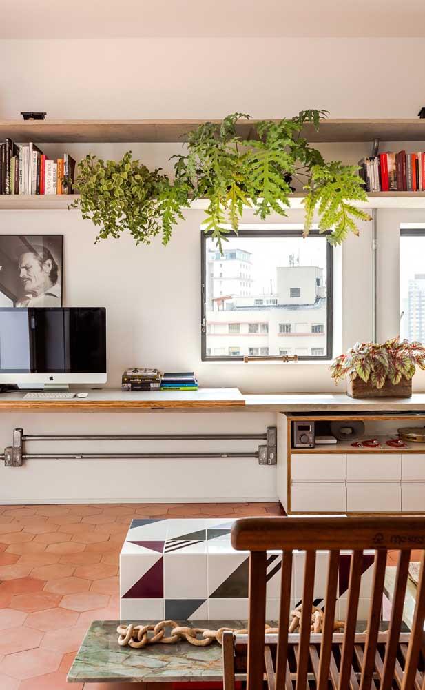 No home office, a samambaia traz vigor e um ânimo extra