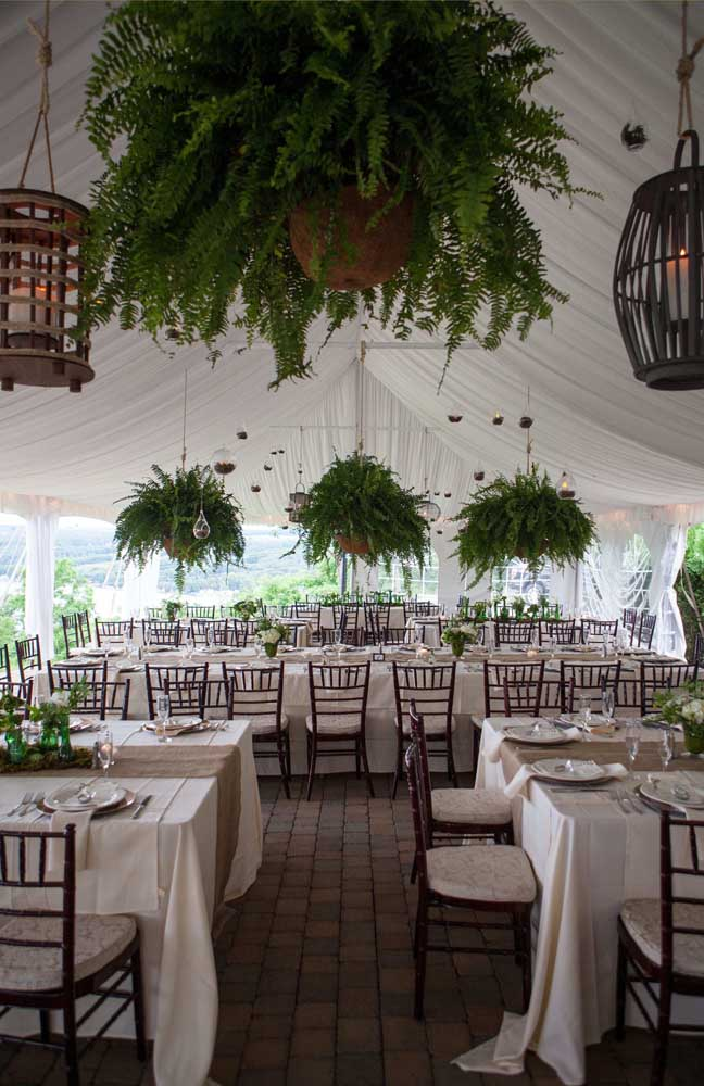 Decoração de casamento toda feita com vasos suspensos de samambaia, contrastando com o branco do ambiente