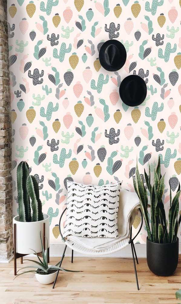 Que combinação perfeita de papel de parede no formato de suculenta com plantas suculentas verdadeiras.