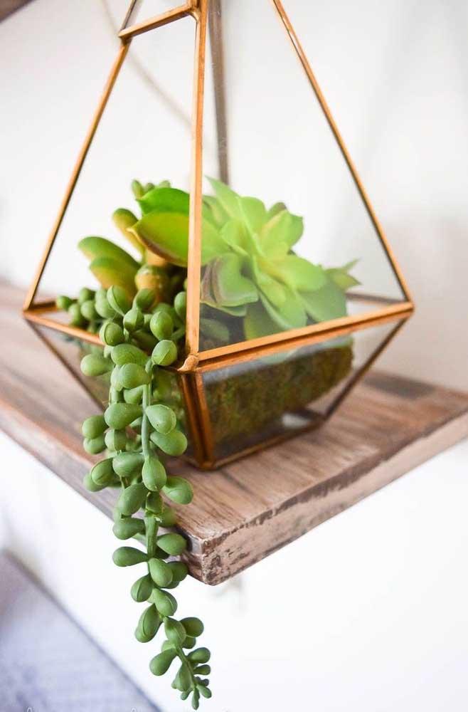 Existem vários modelos de terrário de suculentas, sendo um mais bonito que o outro. A opção é perfeita para quem deseja fazer uma decoração mais elegante.