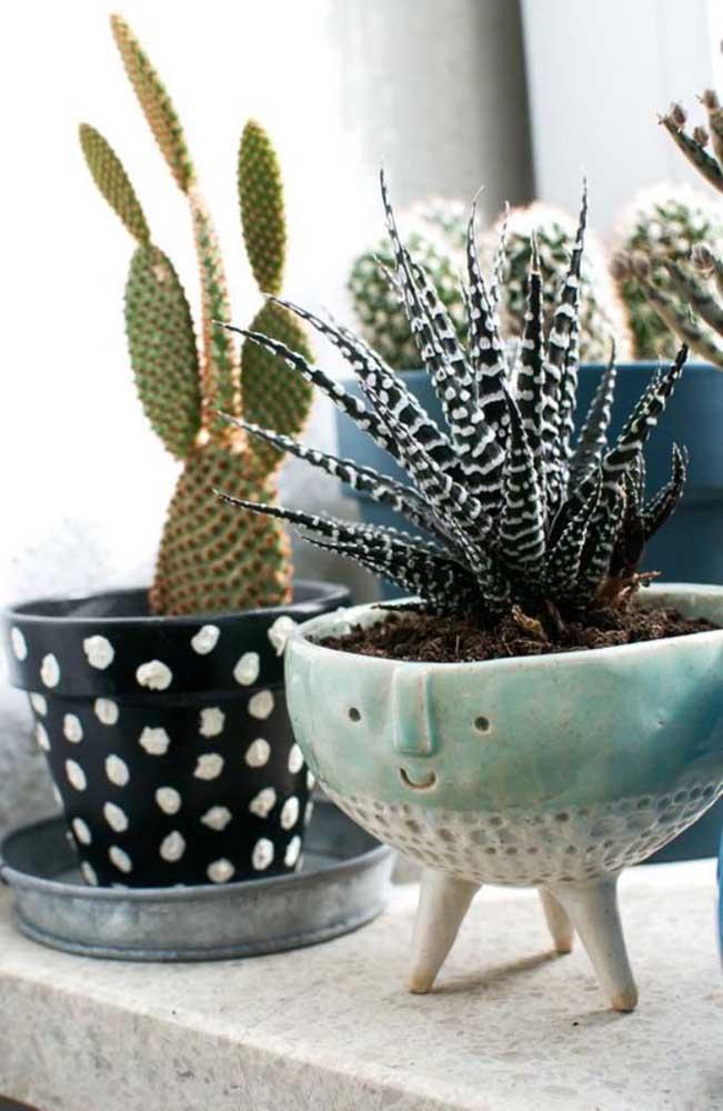 Mais uma opção de modelo de vaso diferenciado que combina muito bem com o tipo de espécie de suculenta escolhida.