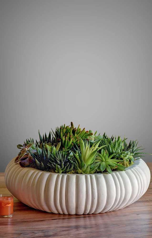 Aposte em um vaso repleto de mini suculentas de espécies diferentes para fazer uma linda decoração.