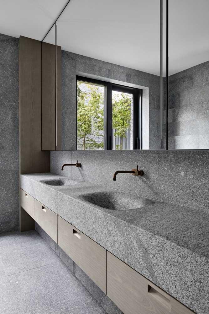 Olha aí como o granito cinza pode integrar um projeto moderno e sofisticado