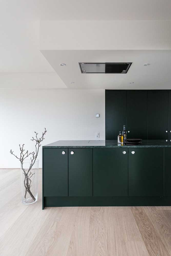 Granito e armários verdes; o piso de madeira fecha a proposta com chave de ouro