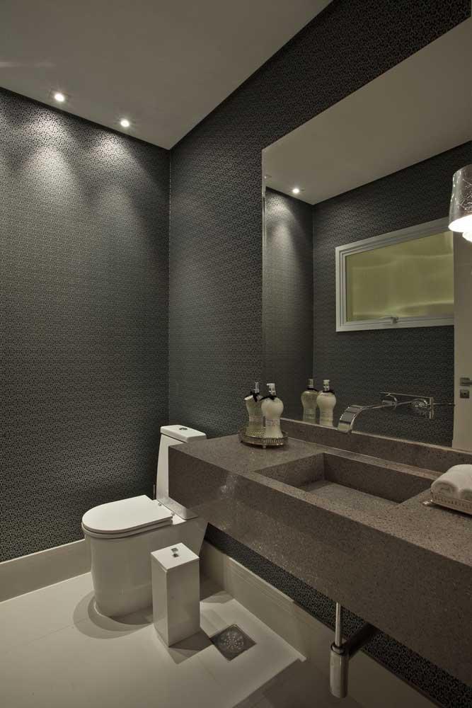 Quanta sofisticação nesse lavabo moderno com bancada de granito marrom