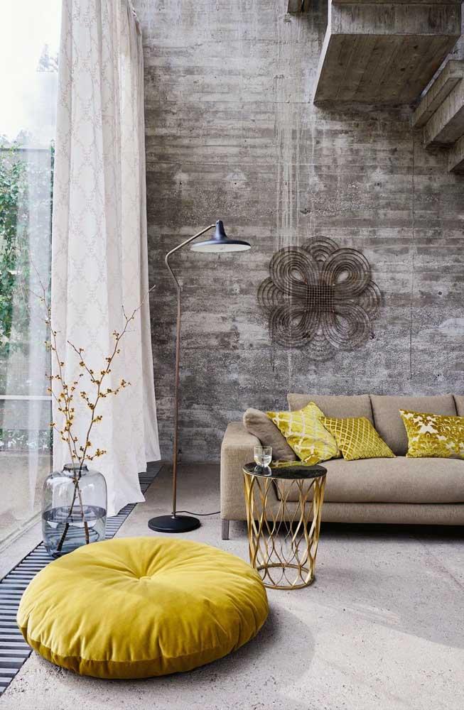 Outra opção de decoração para a sala amarela.