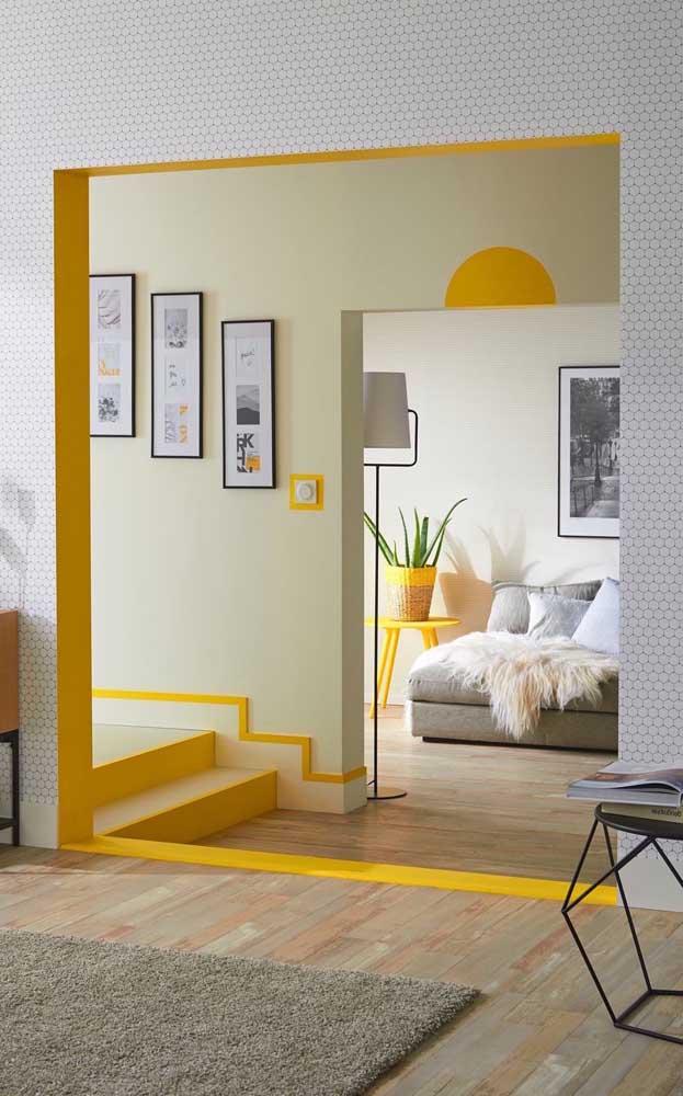 A cor amarelo ganha destaque nos pequenos detalhes de cada cômodo.