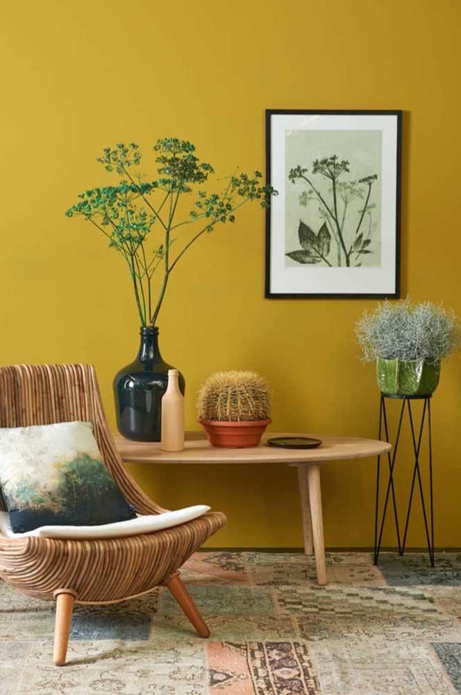 Perceba como é importante fazer a combinação de elementos decorativos com a cor da parede.