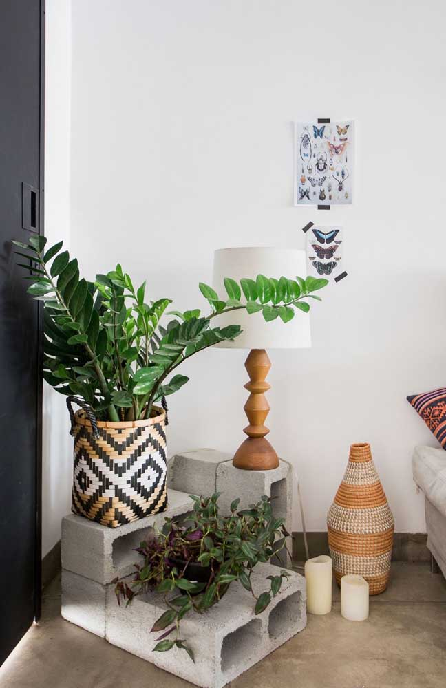 O quarto moderno e de decoração despojada trouxe um vaso grande de zamioculcas destacado dentro do cachepô étnico