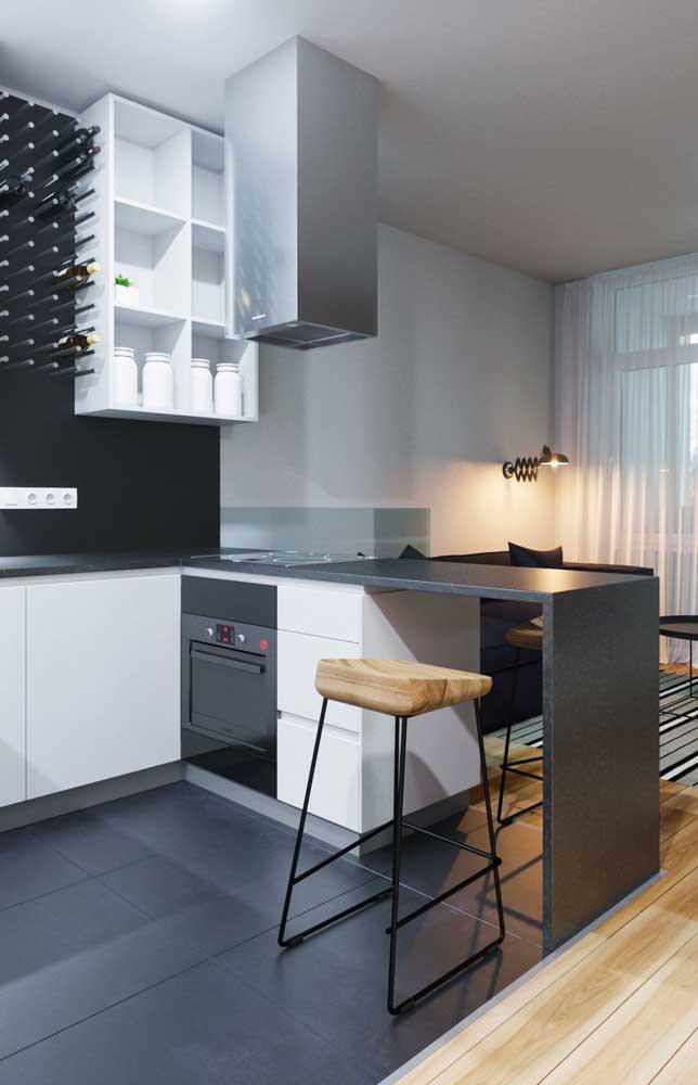 Cozinha clean e moderna com bancada preta; uma combinação impossível de errar