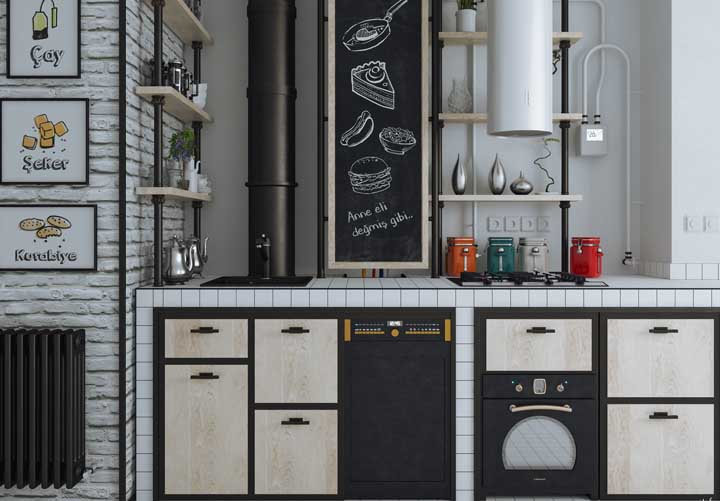 Bancada de cozinha de azulejo: perfeita para propostas de estilo industrial e / ou retrô