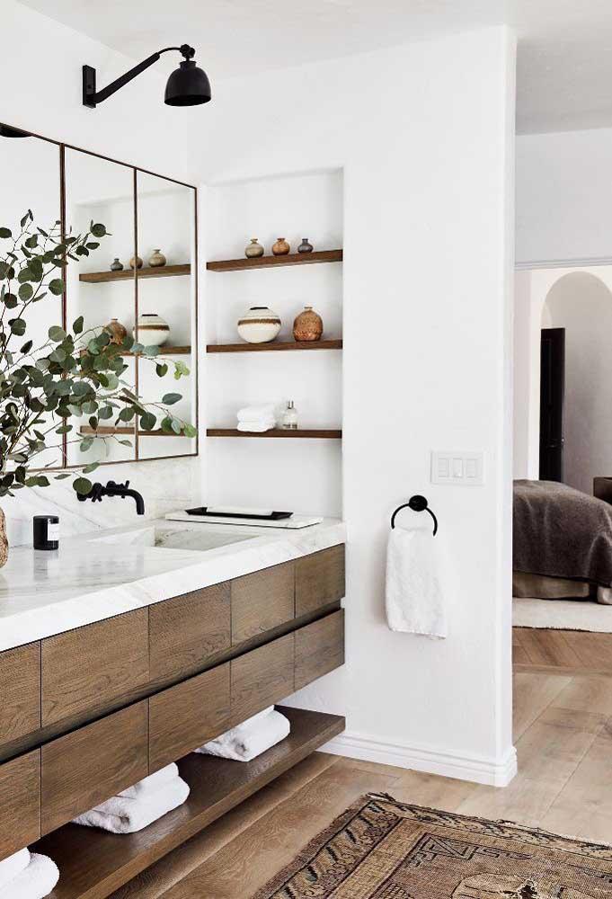 Quer um banheiro rústico moderno? Então essa inspiração é perfeita para você