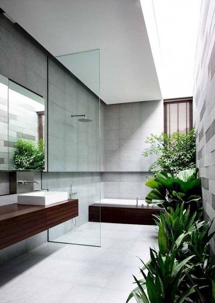Já nesse banheiro amplo, a decoração fica por conta das plantas que se acomodaram muito bem sob a luz da claraboia