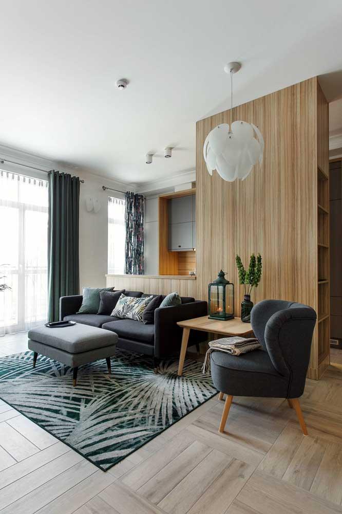 Cortina e tapete da sala em combinação