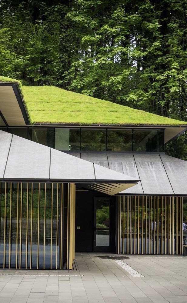 Essa casa de telhado verde trouxe grades verticais para acompanhar as paredes de vidro