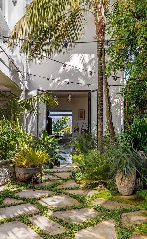 Já nesse jardim de estilo tropical a opção foi por usar pedras em formato de placas