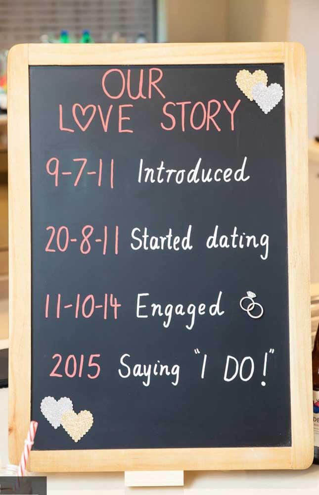 As lousas também ficam ótimas nas decorações de festas de noivado e podem ser usadas como save the date