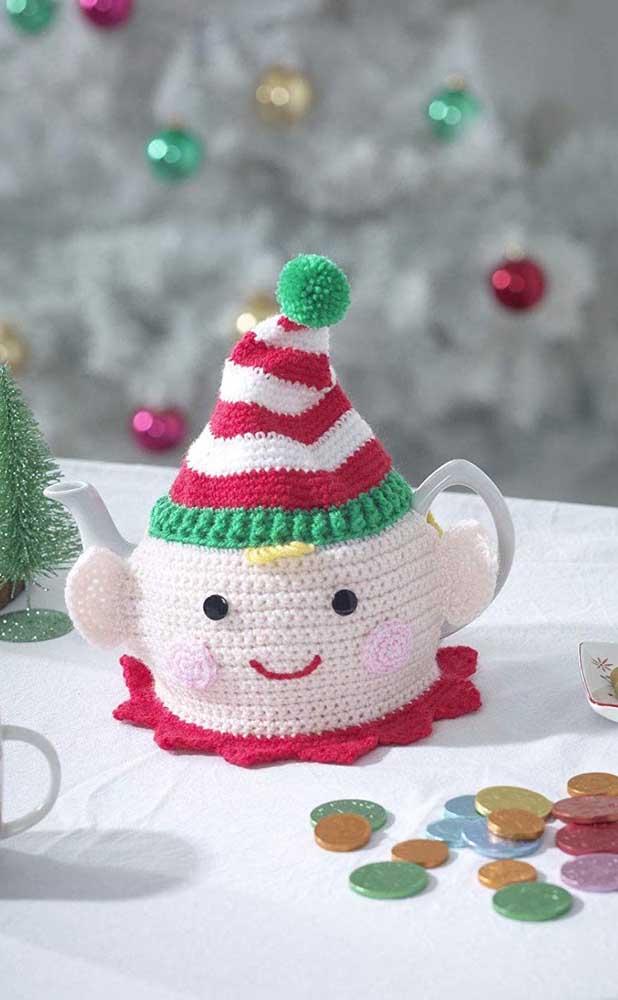 Que capa de bule mais fofinha para presentear no natal ou apenas usar na decoração da sua casa.
