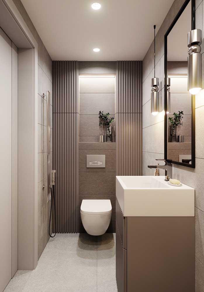 Cores neutras como cinza, branco e bege deixam qualquer banheiro mais luxuoso.