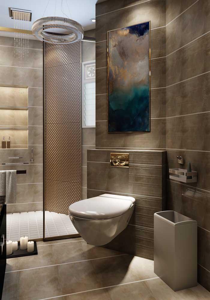 A escolha da cor é determinante para deixar o banheiro mais luxuoso.