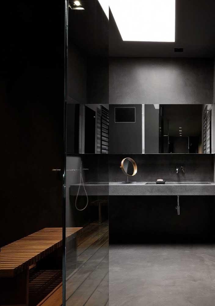 Quem não deseja ter um banheiro luxuoso amplo como esse?