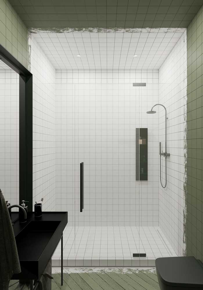 Olha que contraste perfeito para esse banheiro.