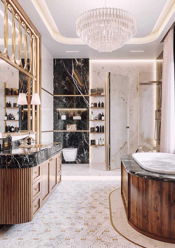 Esse banheiro de luxo com banheira mais parece uma casa.