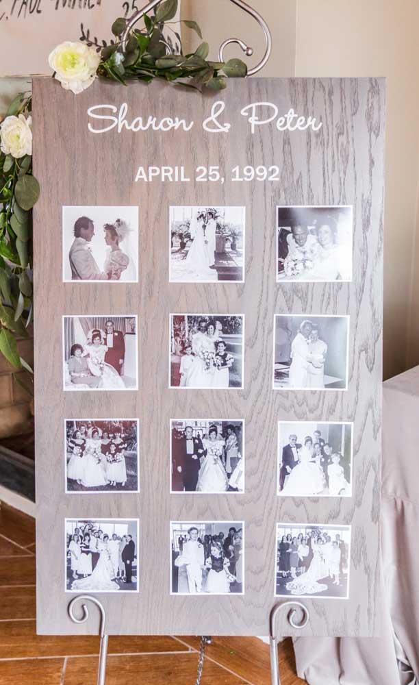 Aqui, um mural com fotos do casal recepciona os convidados