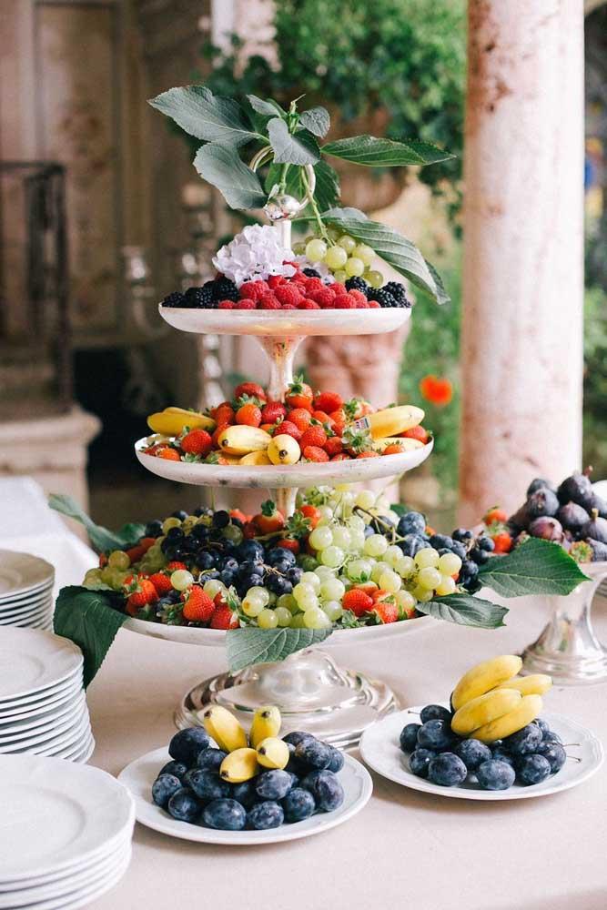 As frutas são ótimas opções de decoração, pois deixa o ambiente bem colorido.
