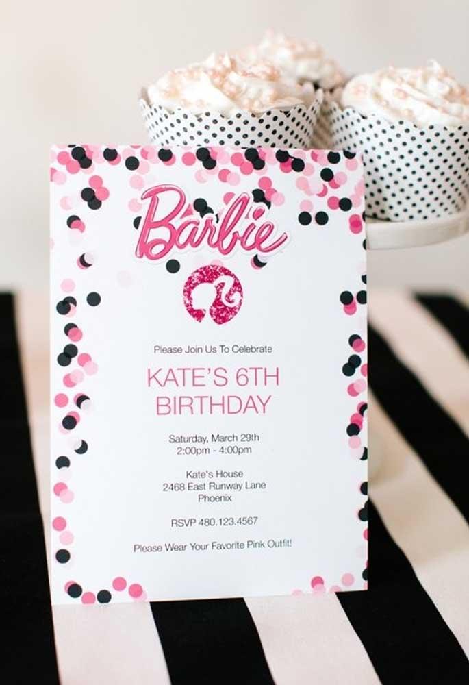 Você pode optar em fazer um convite Barbie simples, mas cheio de detalhes encantadores.