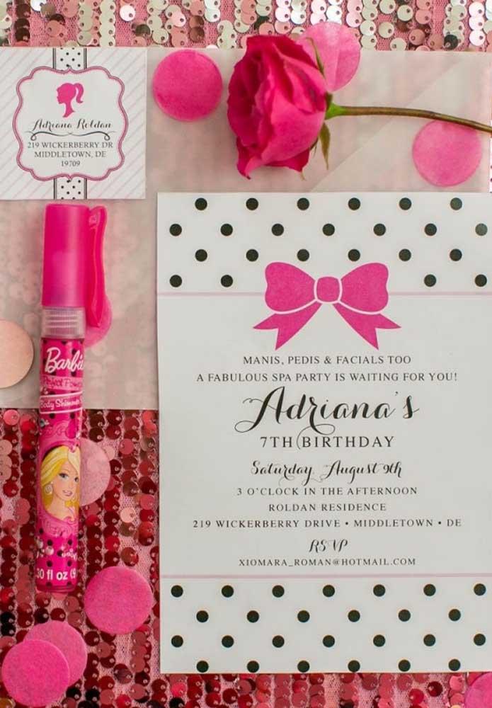 Olha que convite Barbie simples, mas feito com todo carinho pela aniversariante.